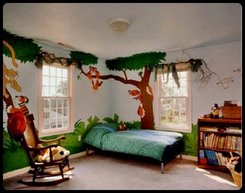 Cartoon wall paintings Best color for kids room